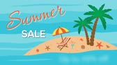 palmeras : Summer sale, seventy percent discount with island and palm trees