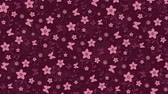 soyut : Dark pink background with flowers and butterflies