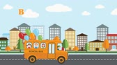badanie : Back to school Flat animation, Children in the school bus on the city background