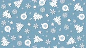 karácsony : Christmas background pattern with Christmas trees, snowflakes and Christmas balls Stock mozgókép
