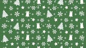 de neve : Christmas background pattern with Christmas trees and snowflakes Vídeos