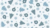 de neve : Christmas background pattern with Christmas trees, snowflakes and Christmas balls Vídeos