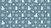 karácsony : Christmas background pattern with Christmas trees and snowflakes Stock mozgókép