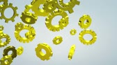 The 3d gold gears footage  for machine content.