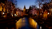 Christmas in Amsterdam with the Rijksmuseum in the Netherlands at sunset