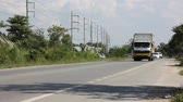 refrigerated : CHIANGMAI, THAILAND - NOVEMBER 14 2014: Container truck  of  Kiatchai Transportation company. Footage at road no.121 about 8 km from downtown Chiangmai, thailand. Stock Footage