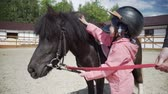 dressage : Little girl is stroking the black ponys mane.