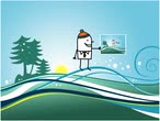 animated cartoon characters - man and winter postcard Stock Footage