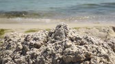 pile of sand on the Black Sea shore on a summer day Stock Footage