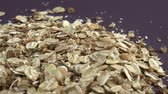aveia : Cereal flakes. Food background. Close up rotation Stock Footage