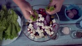 woman tearing green salad leaves in a bowl with greek salad, Greek Salad Preparing. Cooking. Healthy Food. Стоковые видеозаписи