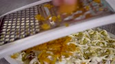 レイヤード : 4k, close up grated boiled carrots, Preparation of a dish herring under a fur coat. Russian national dish.