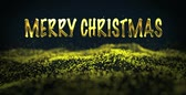 Marry Christmas, christmas golden light shine particles bokeh loopable on black background, Cyber or technology digital landscape background. Golden glitter background Stock Footage