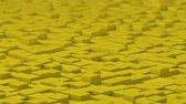 Yellow cubes moving up and down in a random pattern. 3D animated motion background loop.