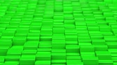Green cubes moving up and down in a random pattern. 3D animated motion background loop. Stok Video