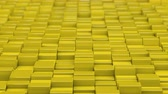 течь : Yellow cubes moving up and down in a random pattern. 3D animated motion background loop.