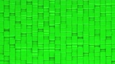 Green cubes moving up and down in a random pattern. 3D animated motion background loop. Isometric view.
