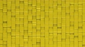 течь : Yellow cubes moving up and down in a random pattern. 3D animated motion background loop. Isometric view.