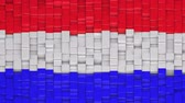 течь : Dutch flag made of cubes moving up and down in a random pattern. 3D animated motion background loop.