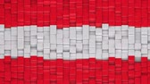Austrian flag made of cubes moving up and down in a random pattern. 3D animated motion background loop.