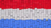течь : Luxembourgish flag made of cubes moving up and down in a random pattern. 3D animated motion background loop. Стоковые видеозаписи