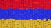 Armenian flag made of cubes moving up and down in a random pattern. 3D animated motion background loop. Stok Video