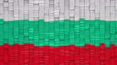 Bulgarian flag made of cubes moving up and down in a random pattern. 3D animated motion background loop.