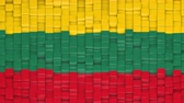 litwa : Lithuanian flag made of cubes moving up and down in a random pattern. 3D animated motion background loop.