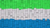 Sierra Leonean flag made of cubes moving up and down in a random pattern. 3D animated motion background loop.