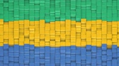 Gabonese flag made of cubes moving up and down in a random pattern. 3D animated motion background loop.