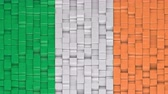 кубический : Irish flag made of cubes moving up and down in a random pattern. 3D animated motion background loop. Стоковые видеозаписи