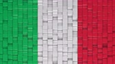 Italian flag made of cubes moving up and down in a random pattern. 3D animated motion background loop.