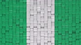 Nigerian flag made of cubes moving up and down in a random pattern. 3D animated motion background loop. Stok Video