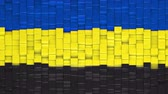 течь : Flag of Gelderland (Guelders), province of The Netherlands, made of cubes moving up and down in a random pattern. 3D animated motion background loop. Стоковые видеозаписи