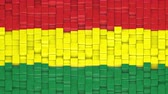 Bolivian civil flag made of cubes moving up and down in a random pattern. 3D animated motion background loop. Stok Video