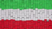 течь : Iranian civil flag made of cubes moving up and down in a random pattern. 3D animated motion background loop. Стоковые видеозаписи