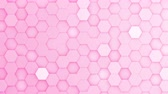 течь : Pink hexagons moving up and down in a random pattern. 3D animated motion background loop. Top down isometric view.