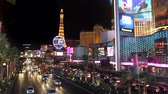 Wide angle shot of the Las Vegas Blvd and the the strip at night