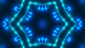 led panel : Abstract background with VJ Fractal blue kaleidoscopic. 3d rendering digital backdrop. 4k animation