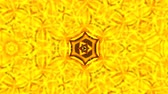 simetri : Abstract background with gold kaleidoscope. Seamless loop