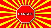 erro : Danger sign on red and cartoon rays, decoration for creative, 3d rendering background Stock Footage