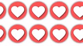 incasso : Rows of abstract flat hearts for valentin day creative, 3d rendering computer generated background