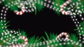 azevinho : Christmas border with green fir branches, shiny garland, candies, 3d rendering backdrop, computer generated background