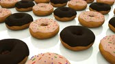 pin : Many rows of glazed sweet donuts are of surface, modern sweet background, 3d rendering backdrop, computer generated