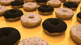 arejado : Many rows of glazed sweet donuts are of surface, modern sweet background, 3d rendering backdrop, computer generated
