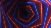portail : Hexagonal bright long abstract neon tunnel is in the dark space, 3d rendering computer generated background Vidéos Libres De Droits