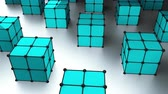 izometrik : Many 3d rendering cubes with dots are on surface, modern computer generated background, stylish backdrop