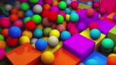 elszórt : Computer generated background multicolored isometric spheres scatter on cubes, top view. 3D rendering
