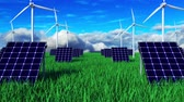 windturbines : 3d rendering background. Ecology green landscape with alternative energy generators. Computer generation ecosystem with solar battery and windmill