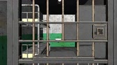 imprison : Computer generated grim prison interior through bars 3d rendering backdrop
